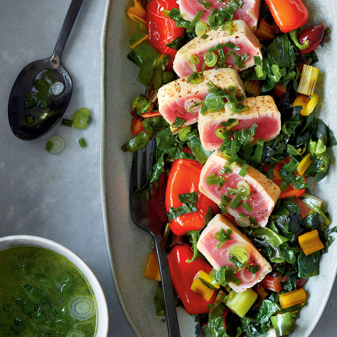 Seared Tuna with Wilted Swiss Chard and Green Onion Broth