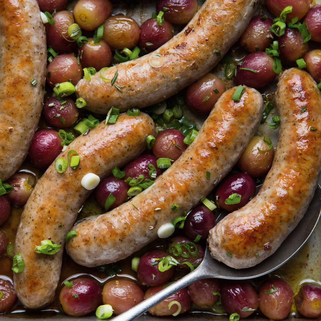 Sausages with Roasted Grapes