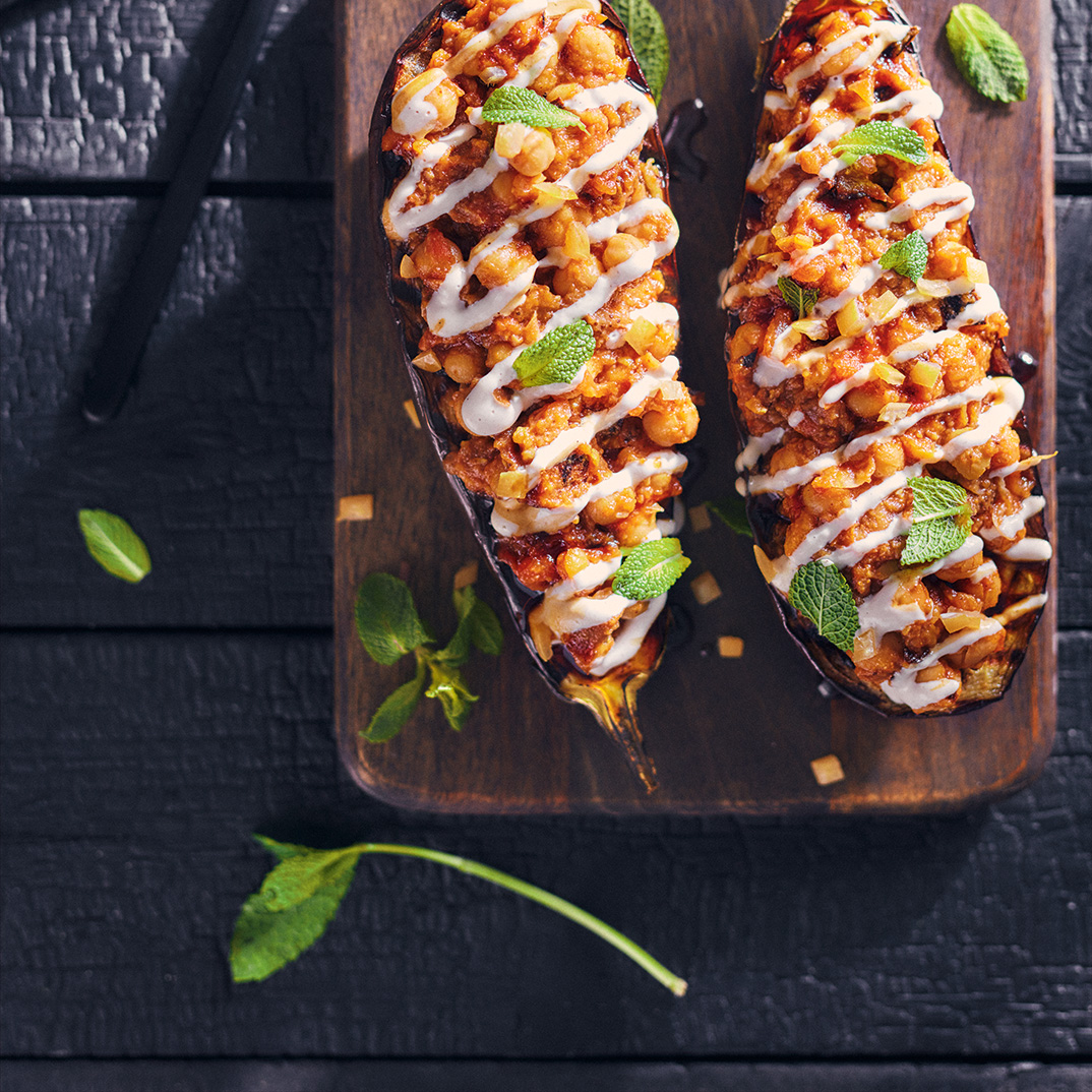 Grilled Eggplant Stuffed with Chickpeas