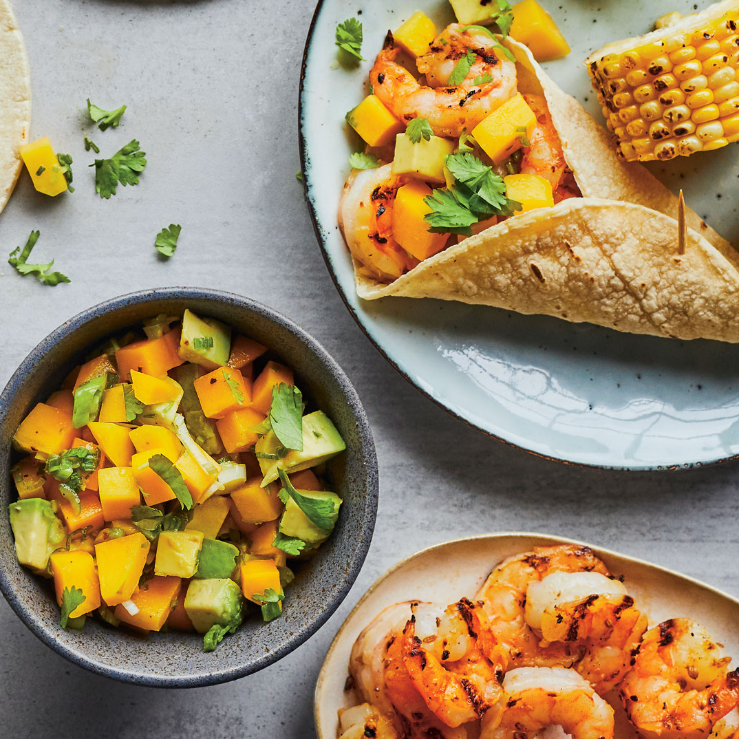 Grilled Shrimp Tortillas with Mango-Avocado Salsa
