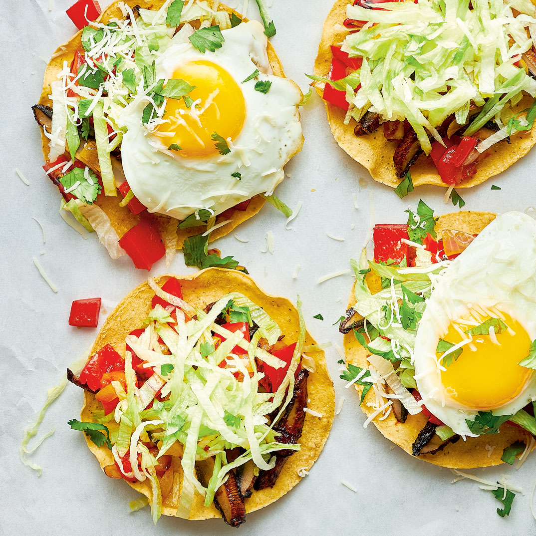 Tostadas with Fried Egg and Barbecue Sauce