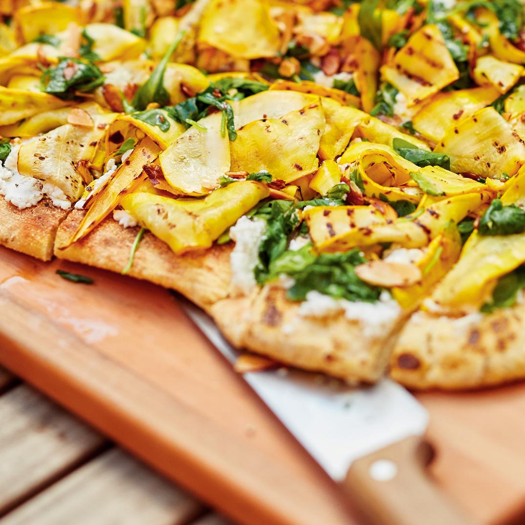 Zucchini, Arugula and Toasted Almond Focaccia