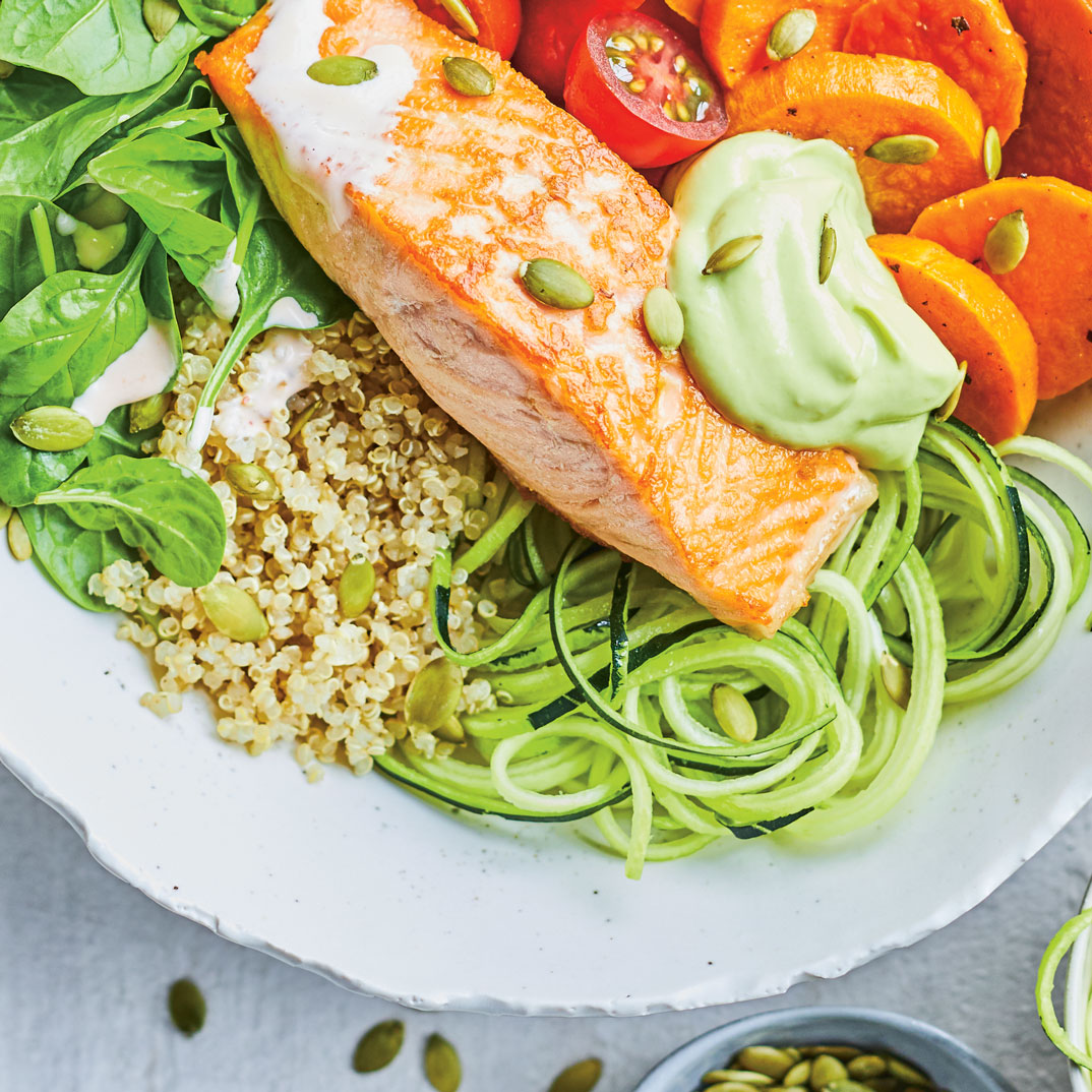 Quinoa Bowl with Salmon, Zucchini and Sweet Potatoes