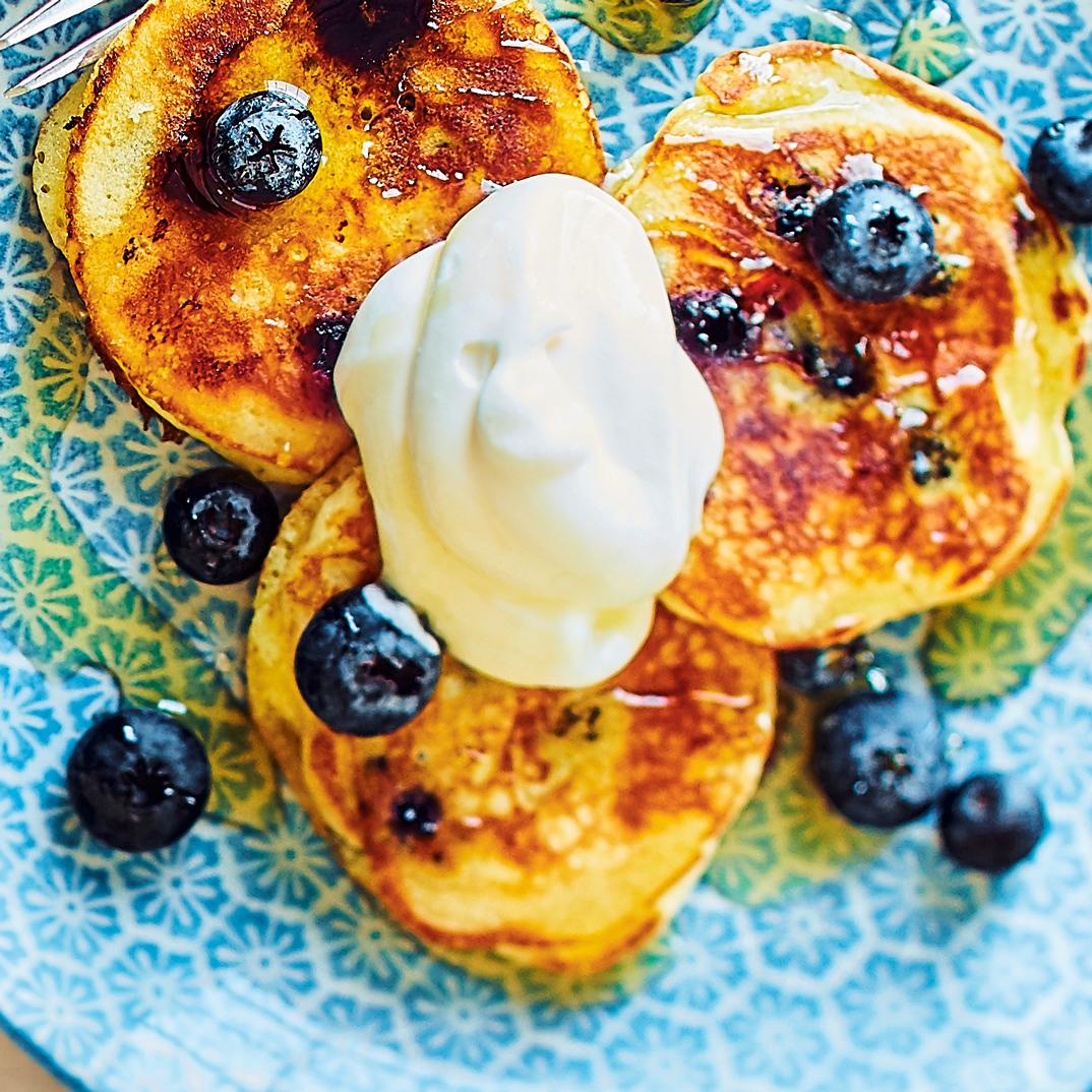 Petits pancakes aux bleuets