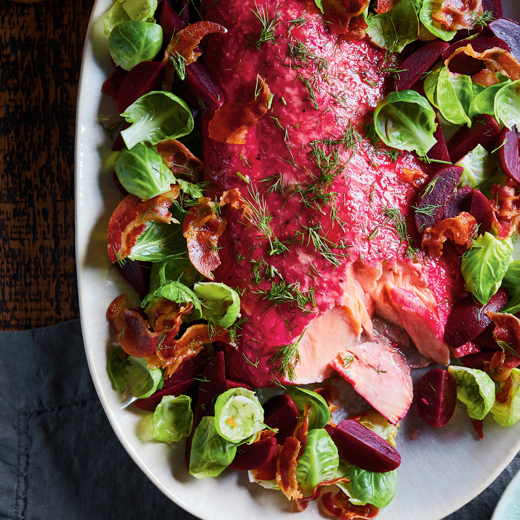 Baked Salmon with Beets, Brussels Sprouts and Pancetta