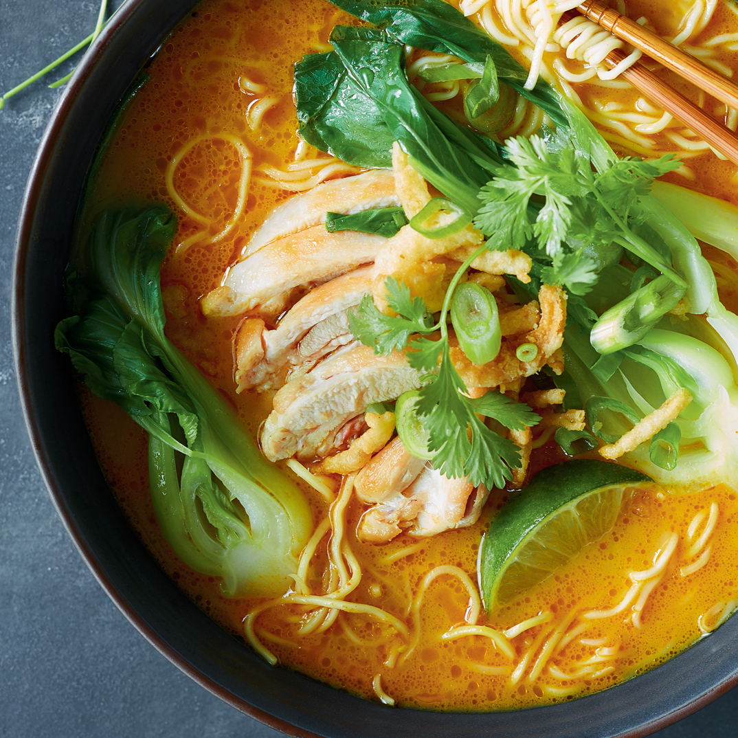 Coconut Curry Ramen with Chicken and Bok Choy
