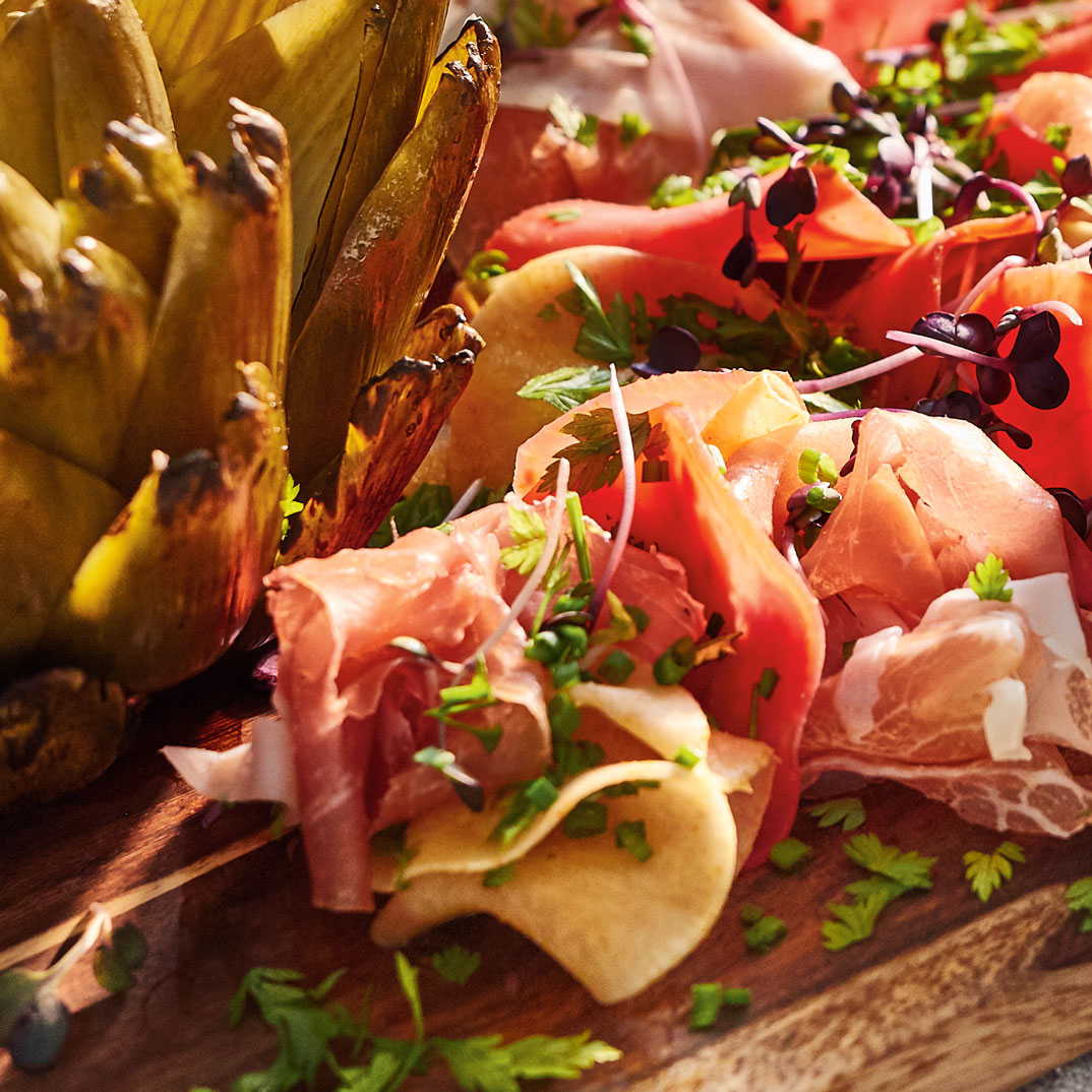Vegetable Charcuterie-Style Platter with Prosciutto