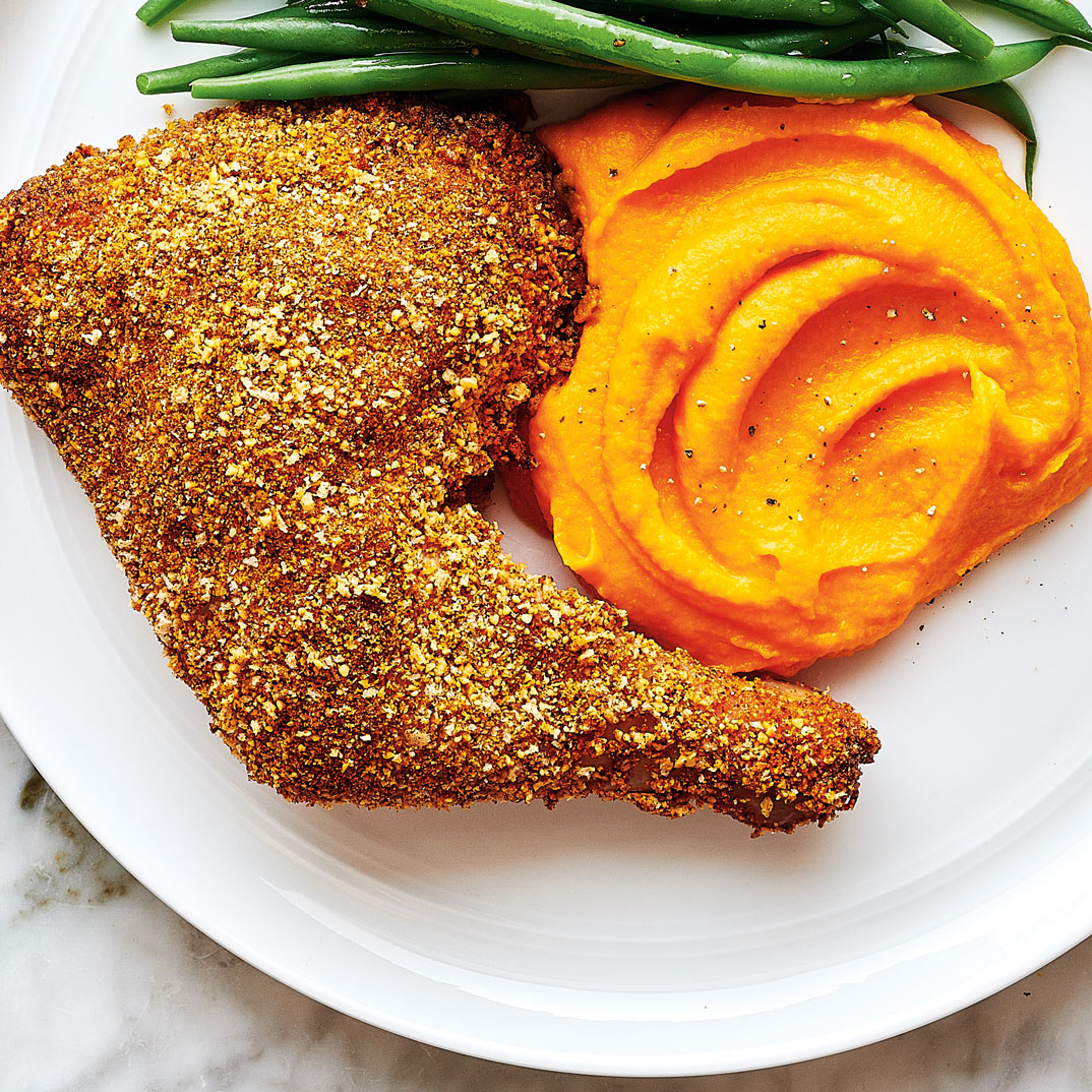 Baked Almond-Crusted Chicken with Carrot Purée