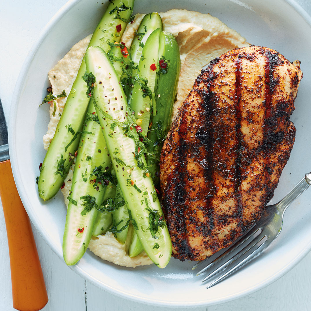 Sumac Chicken with Marinated Cucumbers