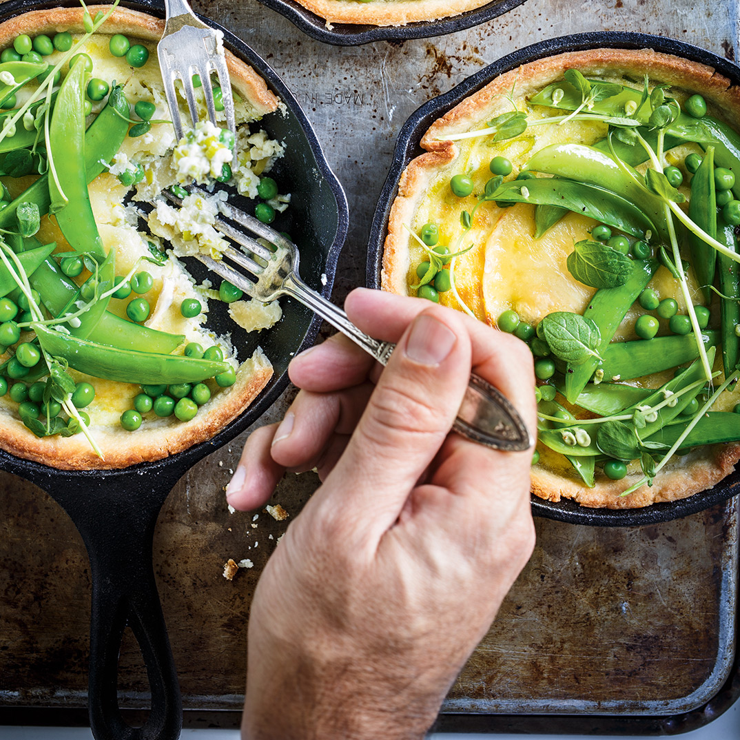 Triple-Cream and Leek Mini Quiche with Pea Salad