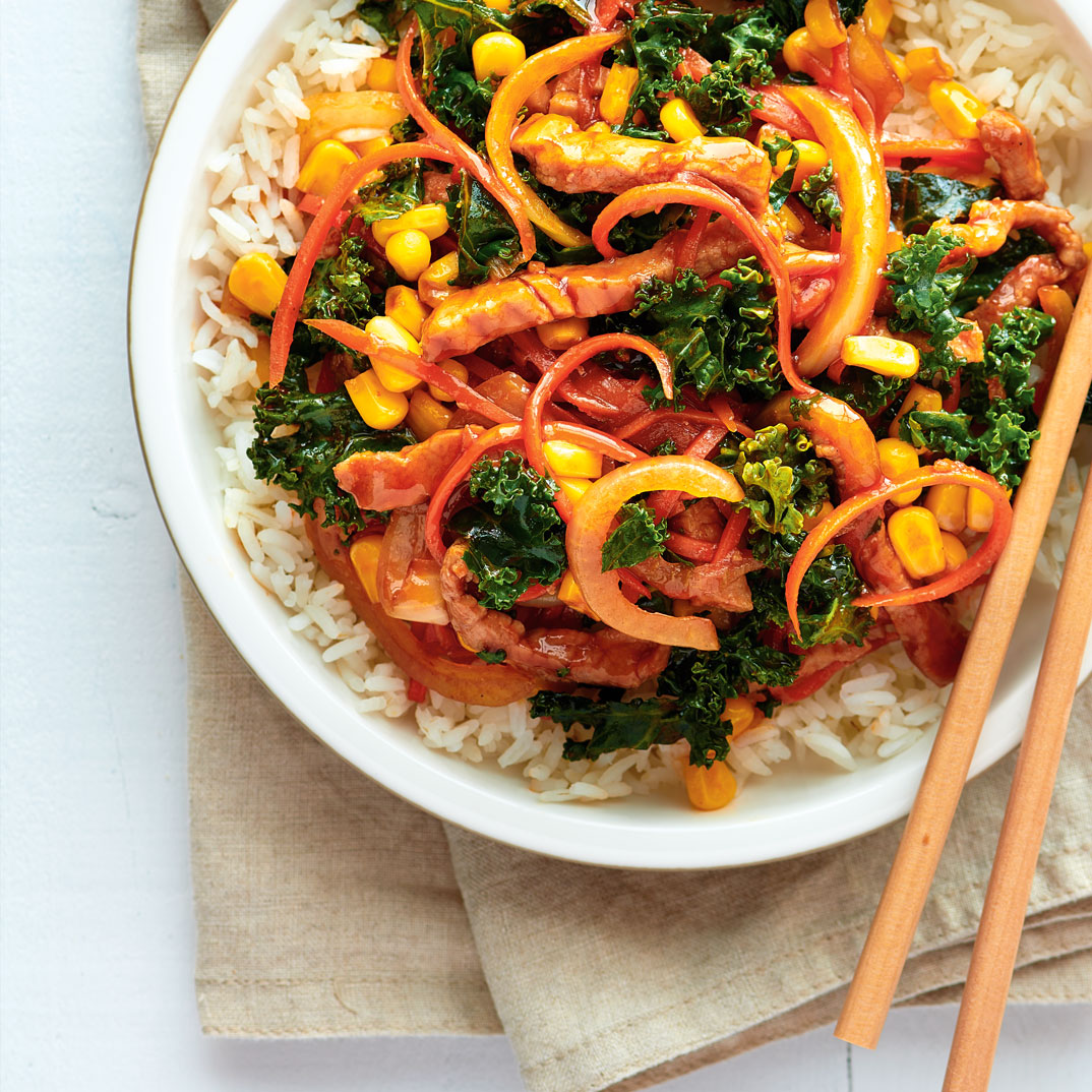 Pork Stir-Fry with Kale and Corn