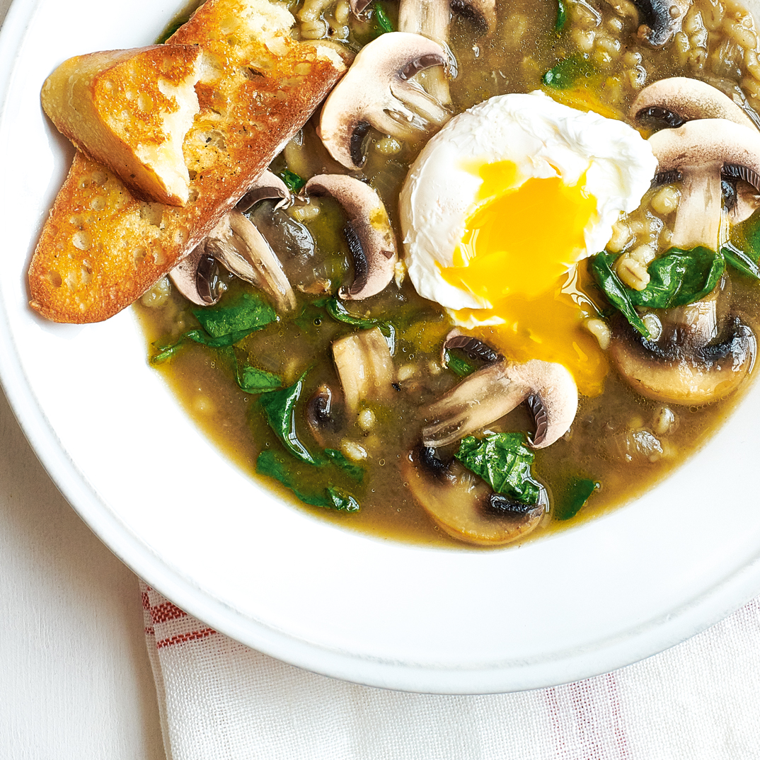 Mushroom Barley Soup with Poached Egg