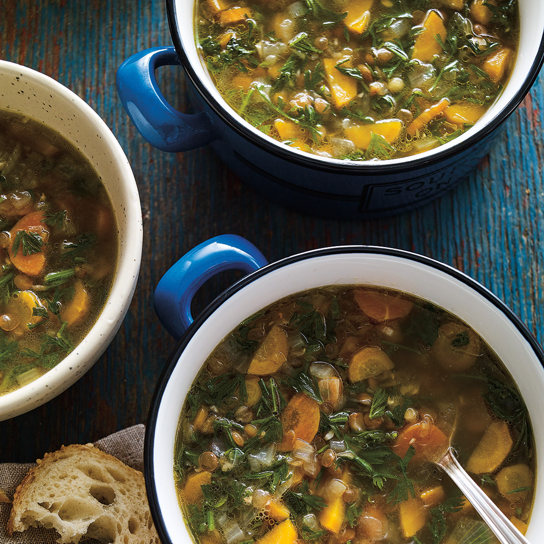 Carrot Greens and Lentil Soup