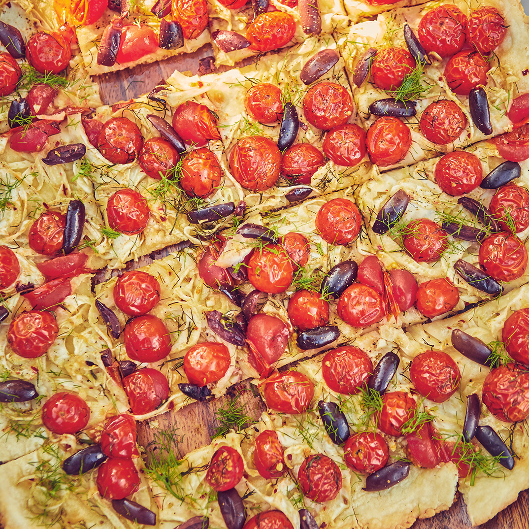 Savoury Fennel, Tomato and Olive Tart