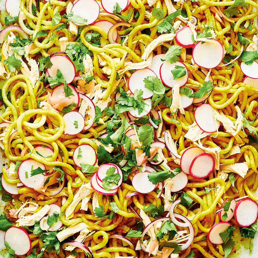 Sheet-Pan Udon Noodles with Chicken and Curried Onions