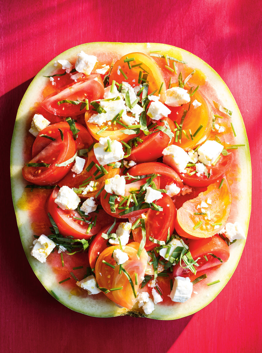 Tranche De Melon D Eau Tomates Basilic Et Feta Ricardo
