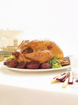 Stuffed Turkey with Caramelized Red Onions