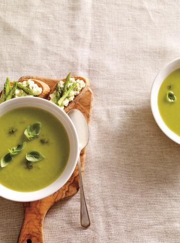 Cream of Asparagus and Basil Soup with Cottage Cheese Toast