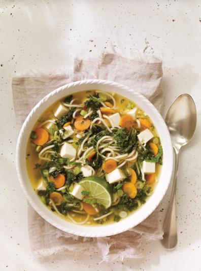 Photo Soupe au tofu et au kale