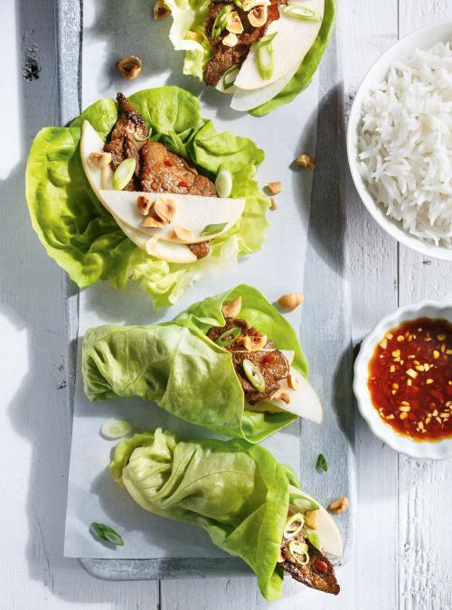 Beef and Pear Lettuce Wraps