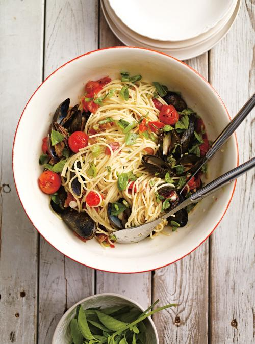 Spaghettis aux moules sur le barbecue