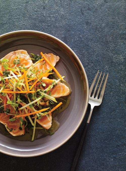Tataki de saumon à la lime et à la clémentine