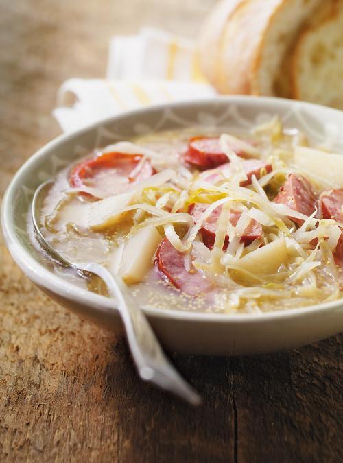 Cabbage, Potato and Kelbasa Soup