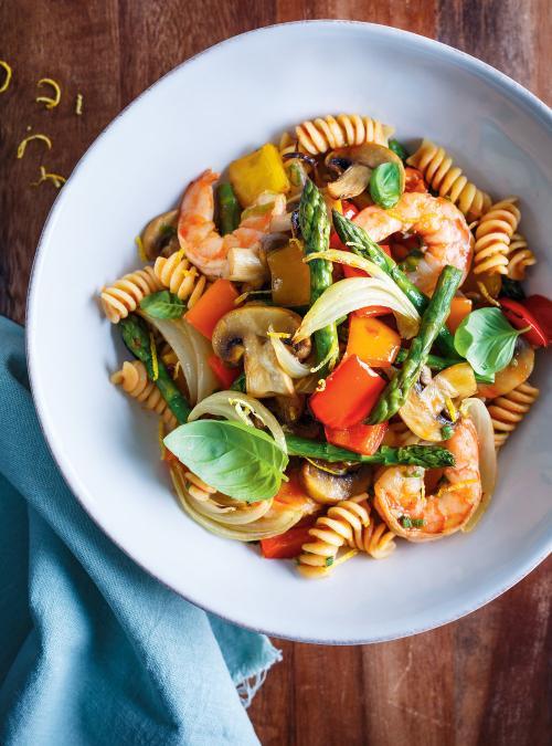 vegetable and shrimp pasta ricardo