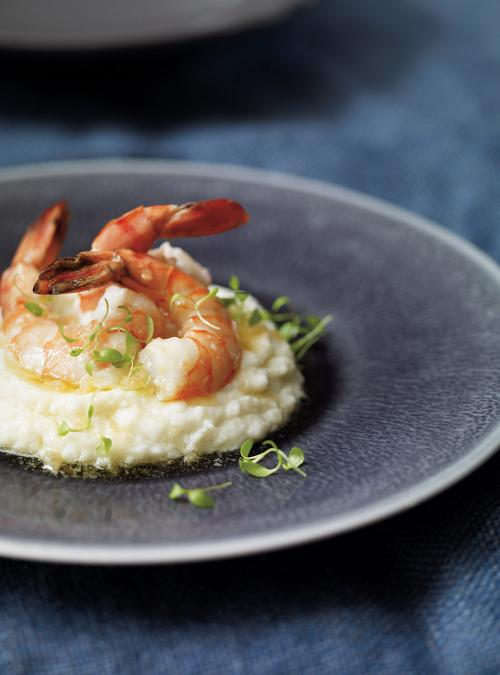 Shrimp with White Chocolate Sauce and Cauliflower