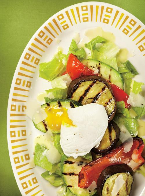Grilled Vegetable Salad with Poached Eggs