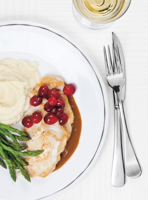 Turkey Cutlets with Parsnip Purée and Honeyed Cranberries