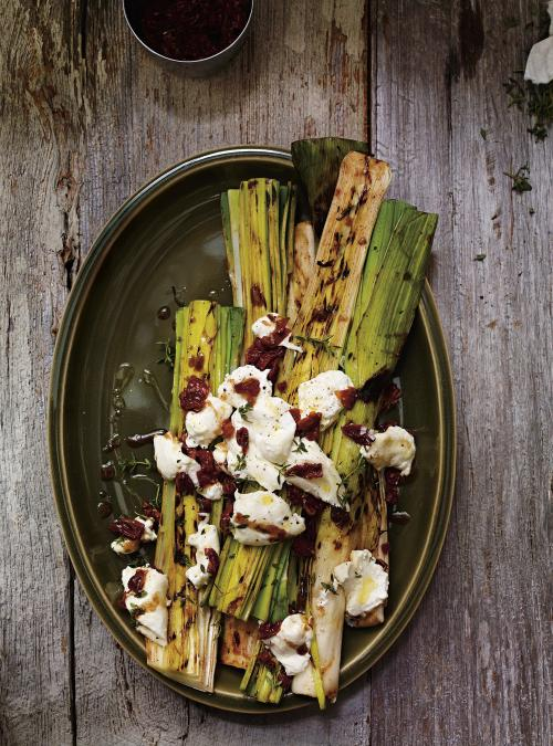 Grilled Leeks with Burrata and Sundried Tomato Dressing