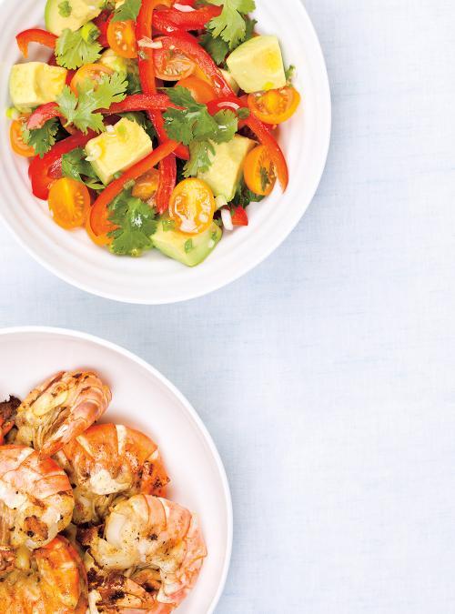 Crevettes grillées et salade d'avocat