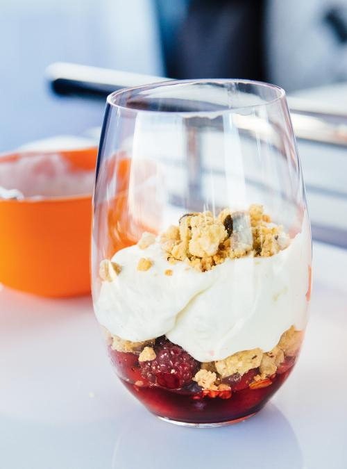 Berry and Pistachio Crumble with Whipped Cream