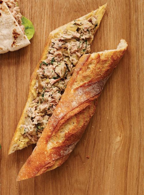 Sandwich au thon, artichauts et citron
