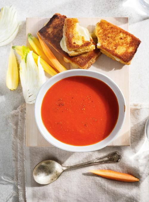Breaded Grilled Cheese Sandwich and Tomato Soup