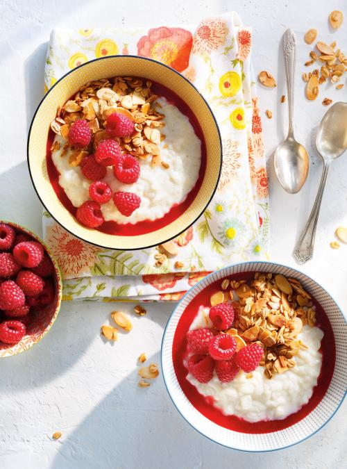 Breakfast Rice Pudding Bowls with Raspberries and Pears