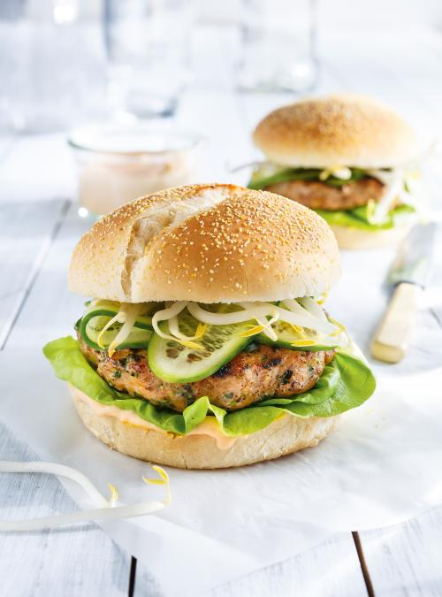 Turkey Burgers with Sriracha Mayonnaise