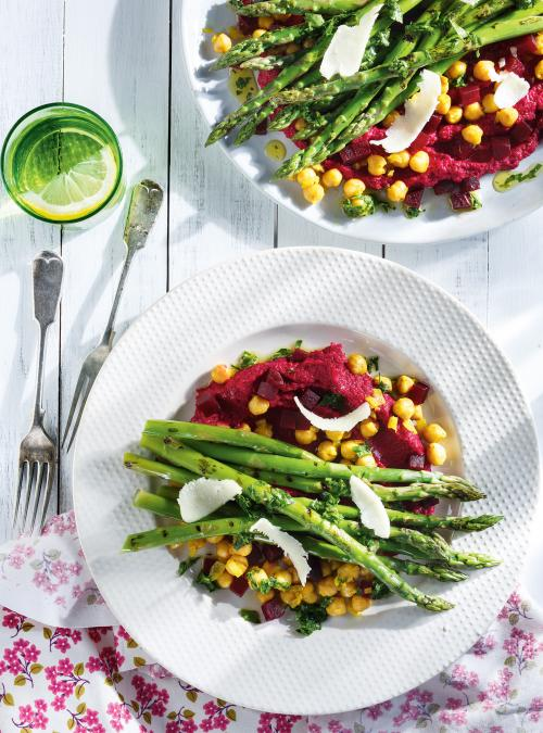 Grilled Asparagus with Beet Hummus and Curried Chickpeas
