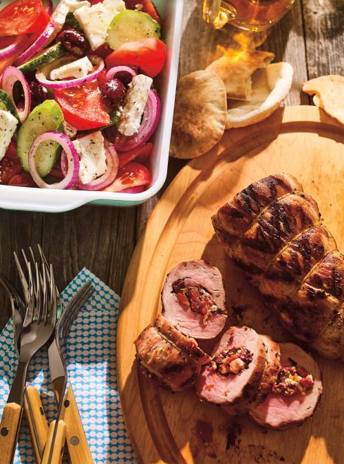 Greek Salad-Stuffed Pork Tenderloin