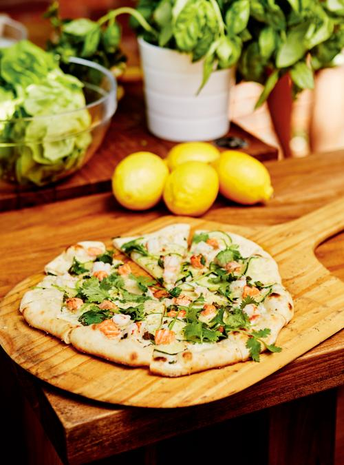 White Pizza with Trout, Shrimp and Zucchini
