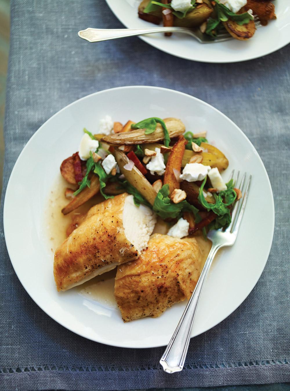 Recette poulet et salade de l gumes r tis au fromage de for Ricardo cuisine