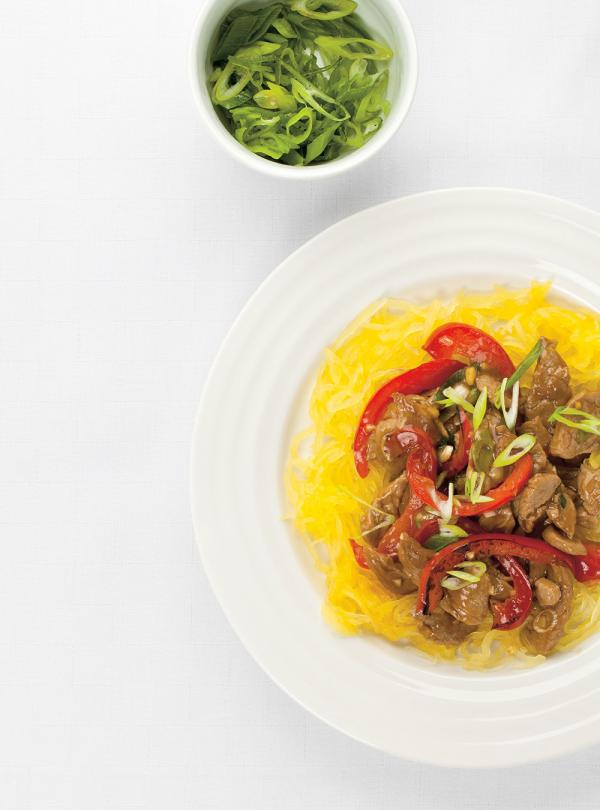 Asian-Style Pork Stir-Fry on Spaghetti Squash | Ricardo
