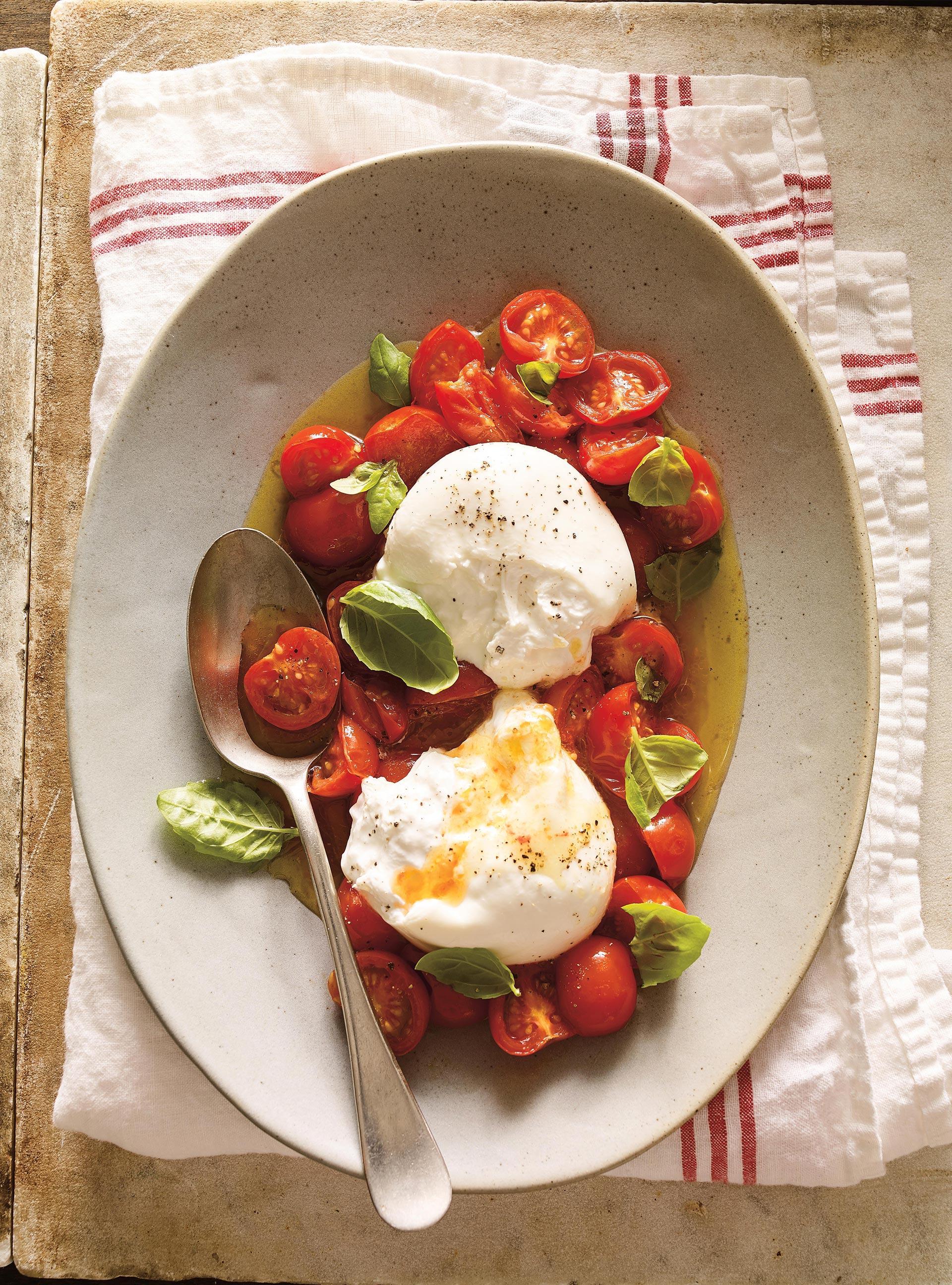 Burrata la tomate cerise confite ricardo for Article de cuisine ricardo