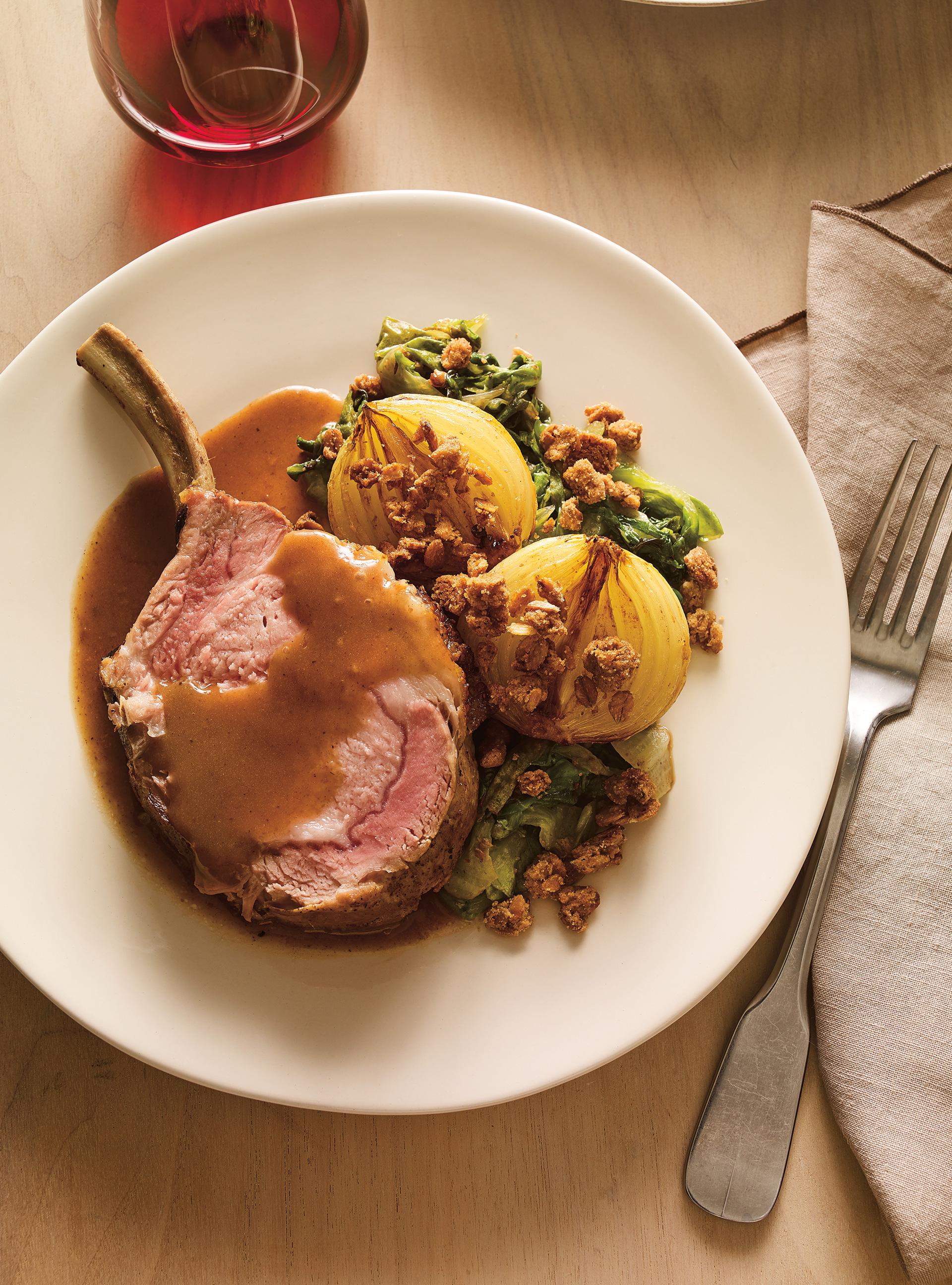 Recette carr de porc et oignons r tis au cidre crumble for Ricardo cuisine