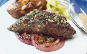 Garlic Flap Steaks