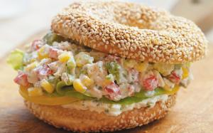Spicy Chicken Bagels