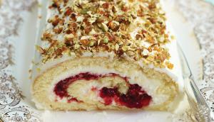 Cranberry, Raspberry, Mascarpone and Pistachio Yule Log