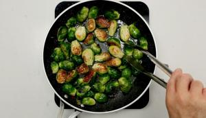 Roasted Brussels Sprouts with Mustard and Bacon