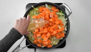 Braised Cabbage with Sausage and Sweet Potato